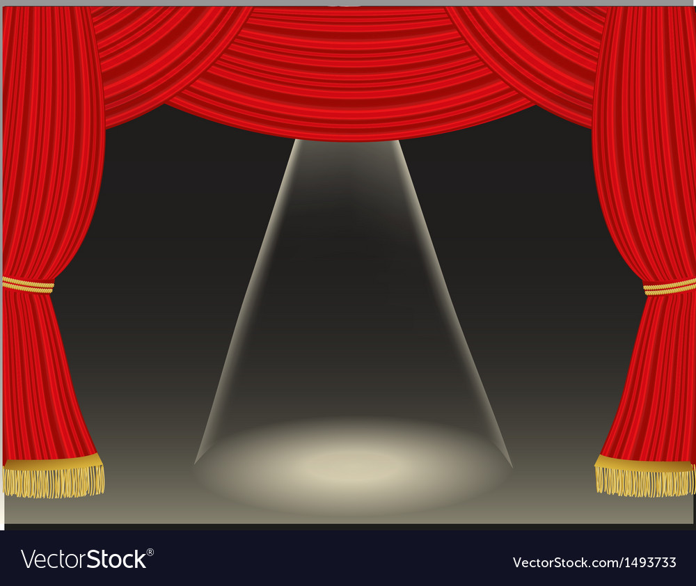 Theater curtains background with spotlight vector | Price: 1 Credit (USD $1)