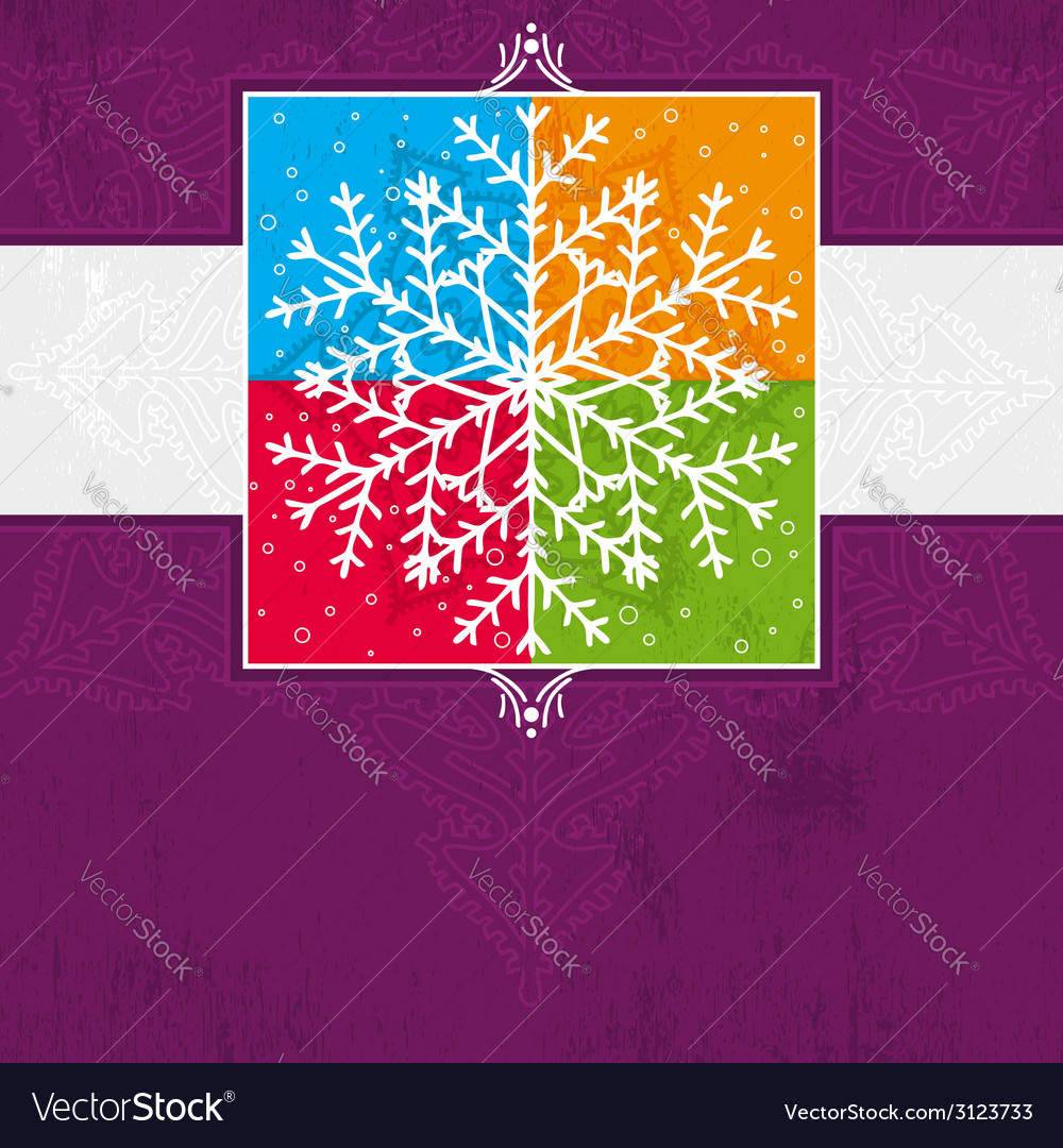 Violet christmas card with snowflake vector | Price: 1 Credit (USD $1)