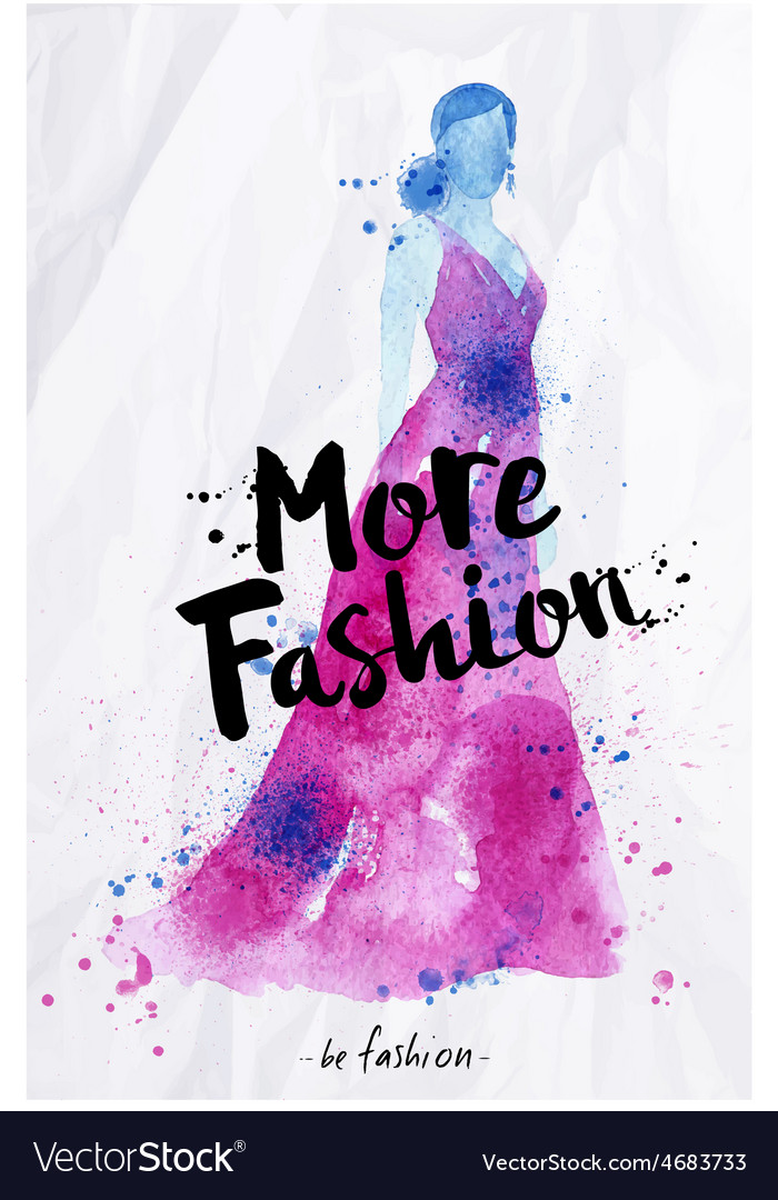 Watercolor silhouettes lettering more fashion vector