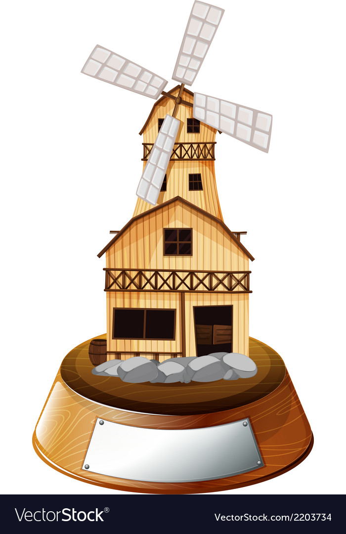 A trophy stand with a wooden house vector | Price: 1 Credit (USD $1)