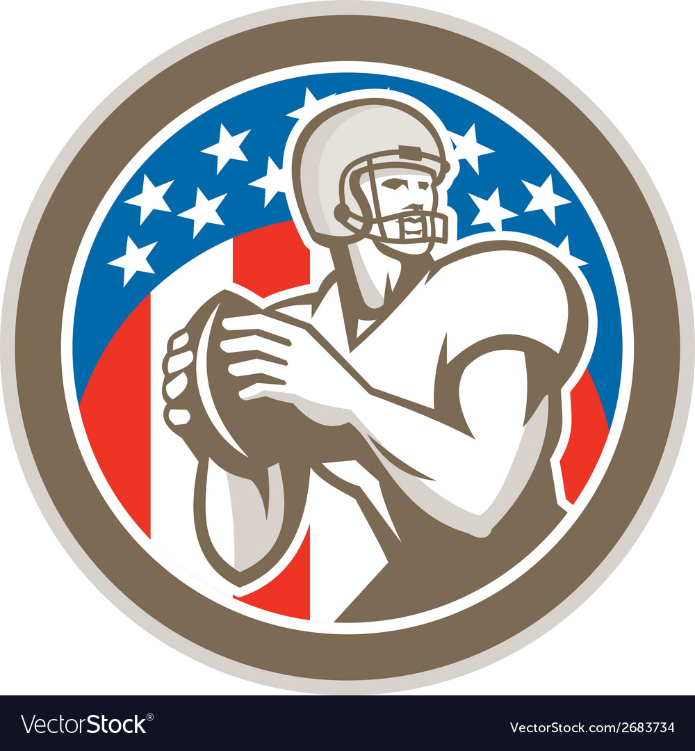 American football quarterback qb circle retro vector | Price: 1 Credit (USD $1)