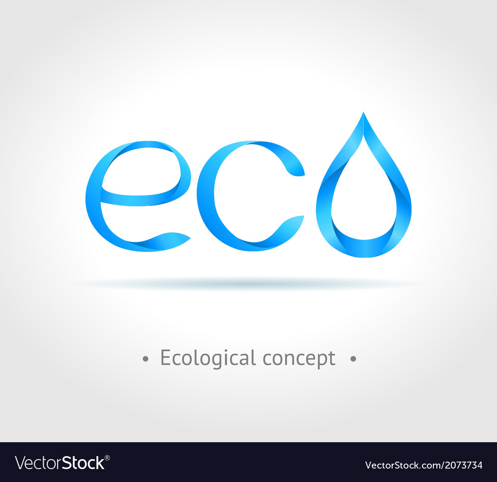 Blue word eco on gray background vector | Price: 1 Credit (USD $1)