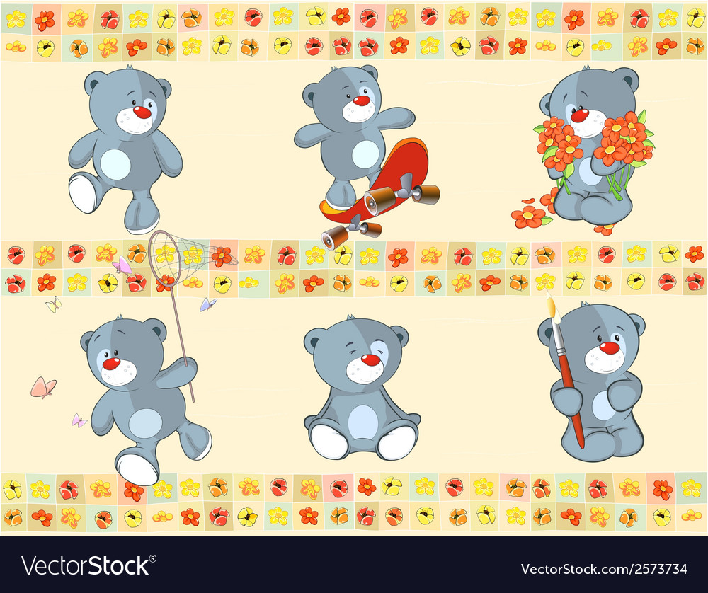 Border for wallpaper with stuffed bear cubs vector   Price: 1 Credit (USD $1)