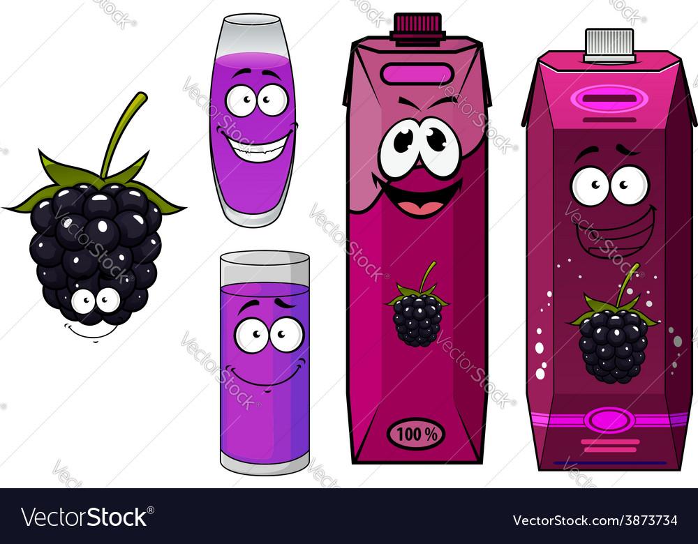 Cartoon happy blackberry juice characters vector | Price: 1 Credit (USD $1)