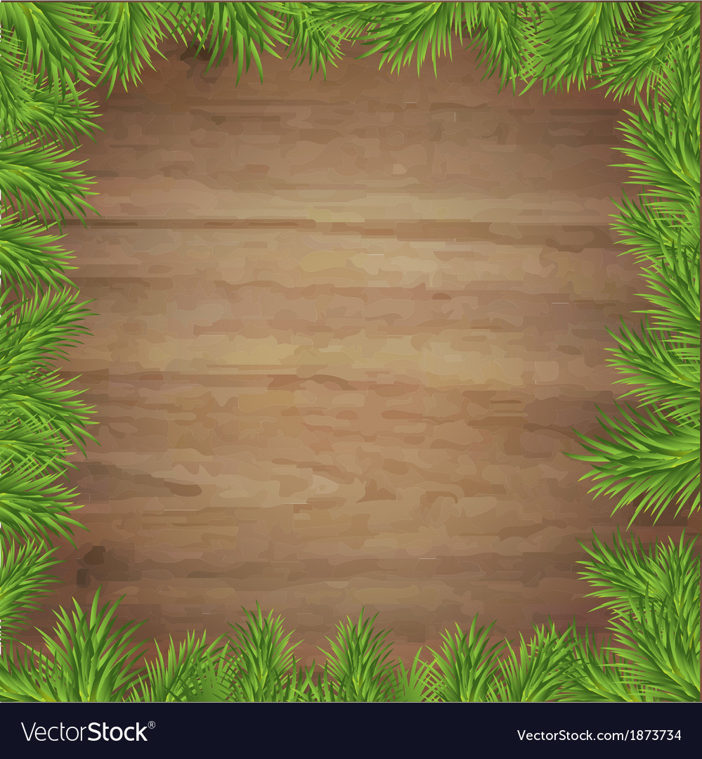 Fir tree branches and wood background vector | Price: 1 Credit (USD $1)