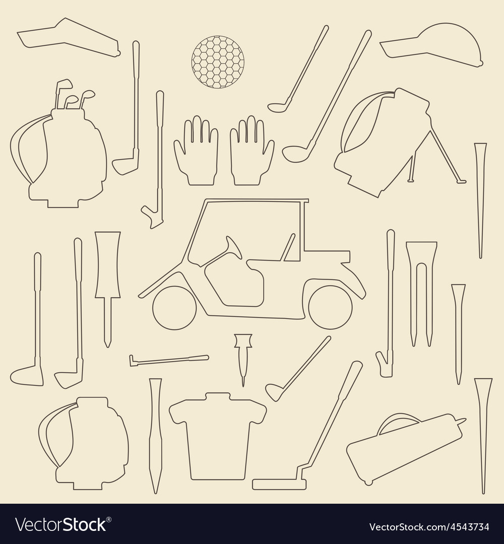 Golf sport items linear and silhouette set vector | Price: 1 Credit (USD $1)