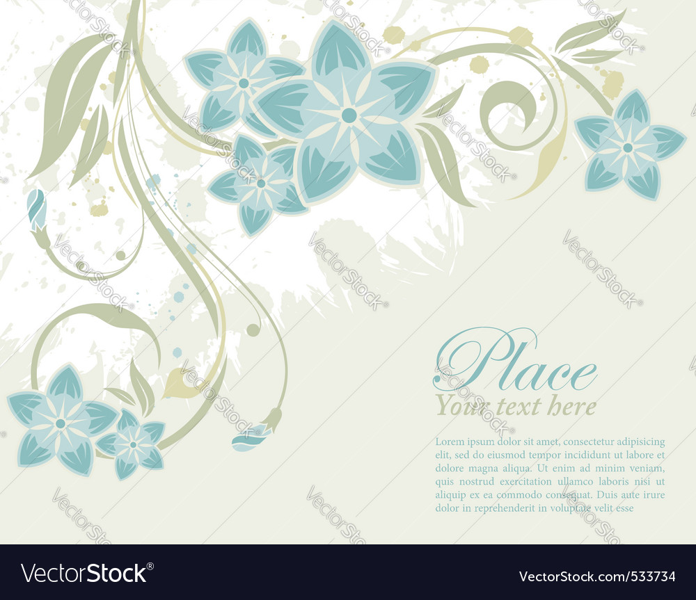 Grunge decorative floral frame with bud element fo vector | Price: 1 Credit (USD $1)