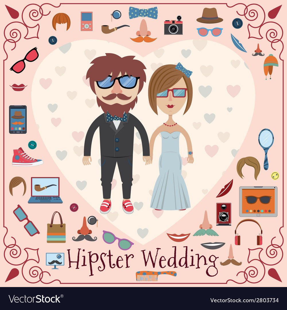 Hipster wedding card vector | Price: 1 Credit (USD $1)
