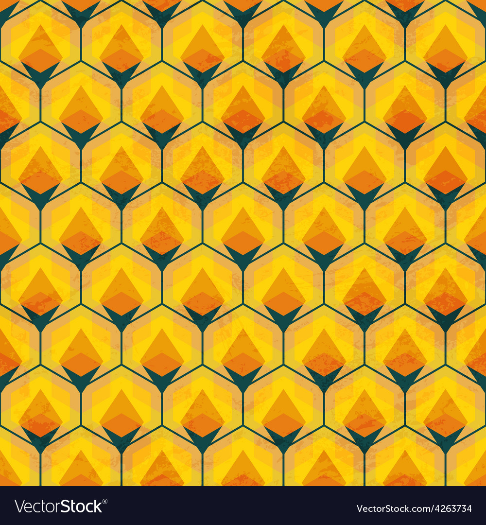 Honey mosaic seamless pattern vector | Price: 1 Credit (USD $1)