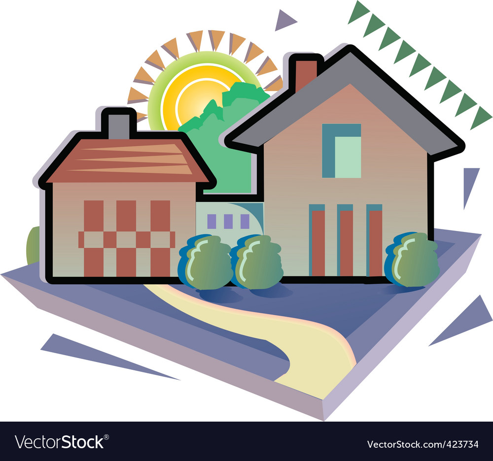 house with trees vector | Price: 1 Credit (USD $1)
