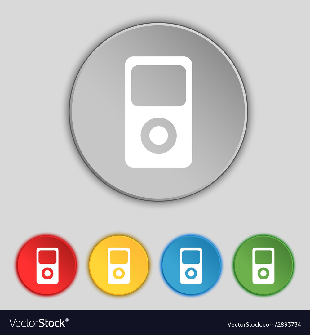 Portable musical player icon set colur buttons vector   Price: 1 Credit (USD $1)