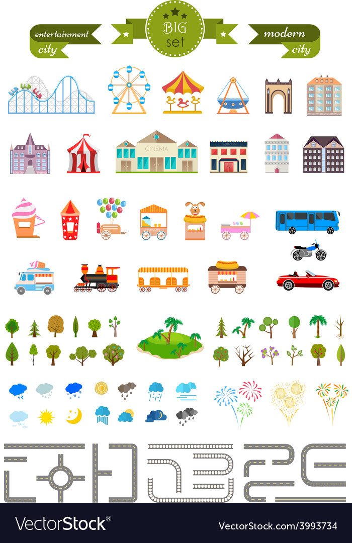 Set of elements for creating your own modern city vector | Price: 1 Credit (USD $1)