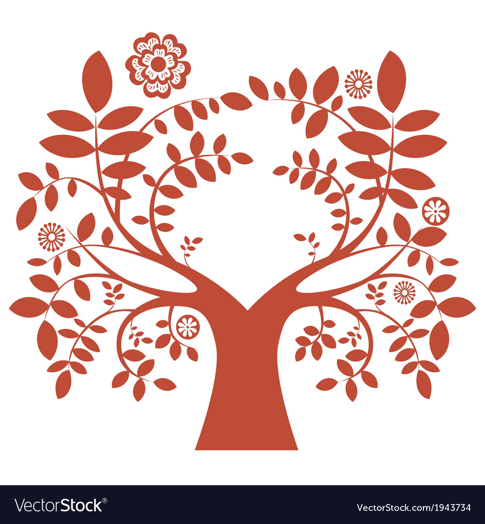 Spring tree red color vector | Price: 1 Credit (USD $1)