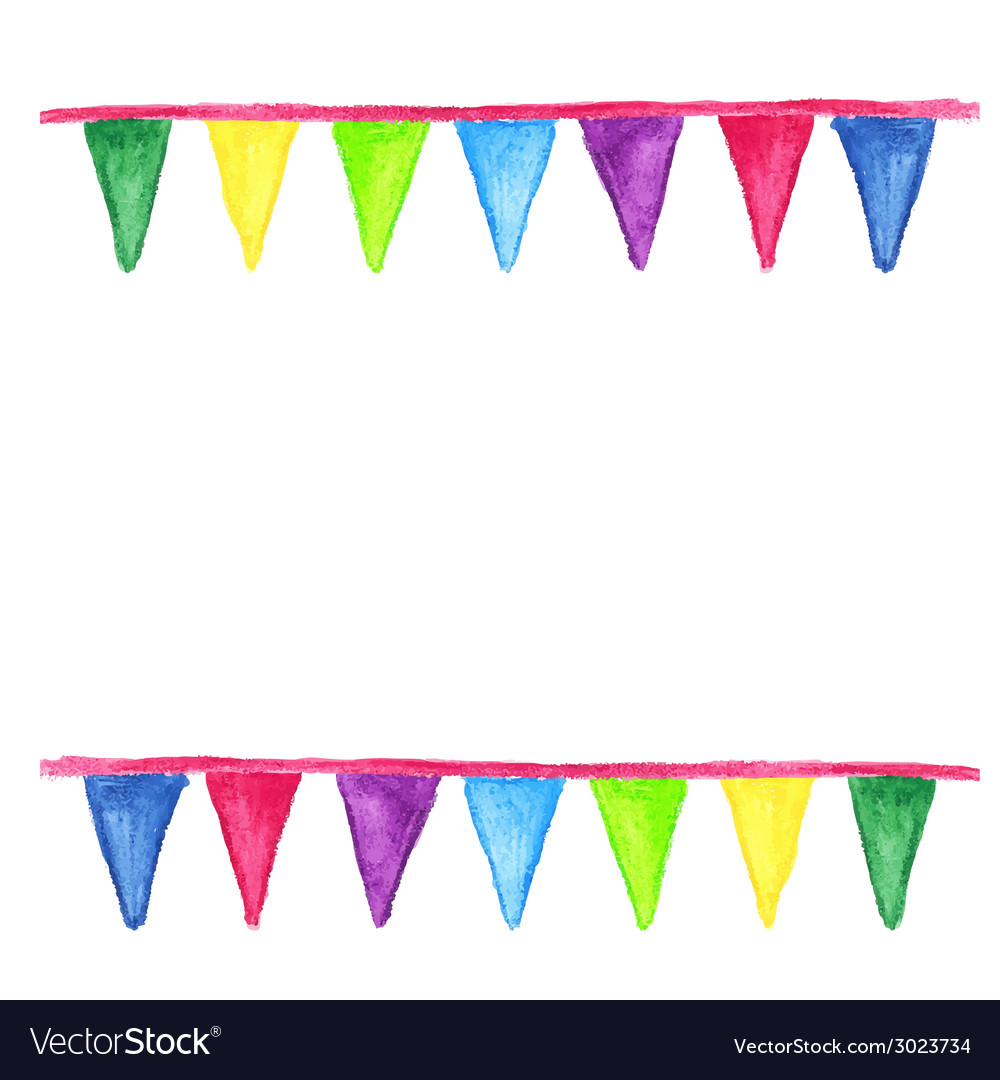 Watercolor party bunting isolated on white vector | Price: 1 Credit (USD $1)