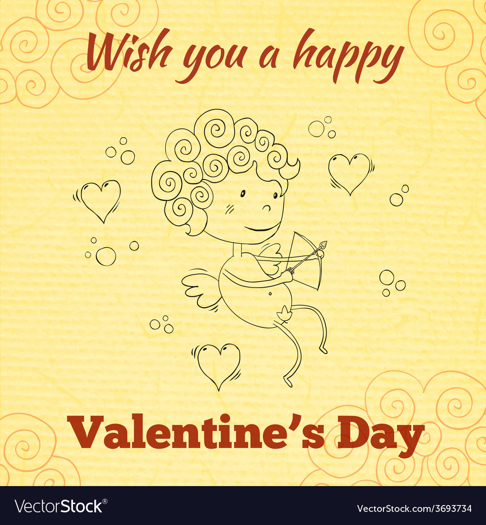 Wish you a happy valentines day greeting card vector | Price: 1 Credit (USD $1)