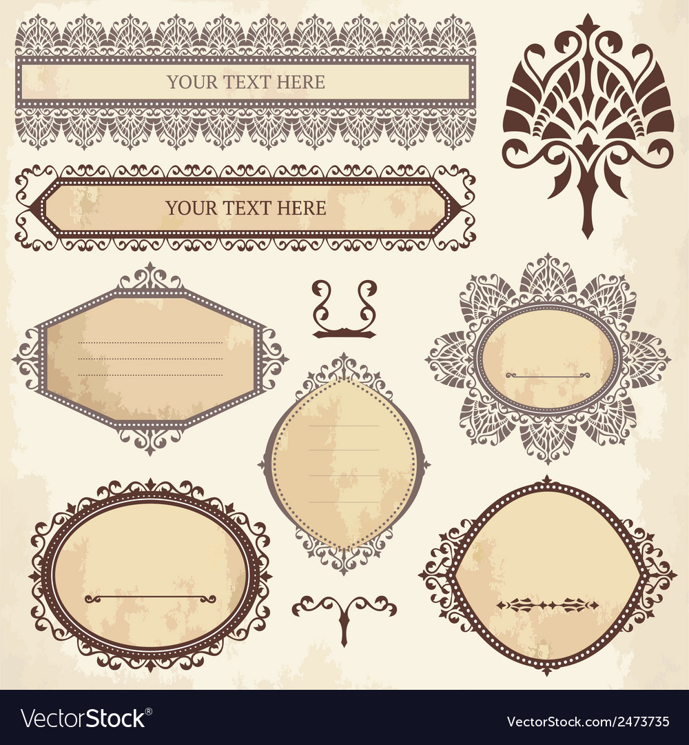 Collection of ornamental elements vector | Price: 1 Credit (USD $1)