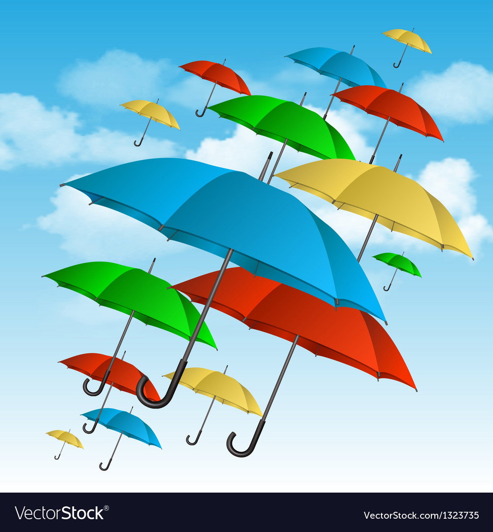 Colorful umbrellas flying high vector | Price: 3 Credit (USD $3)