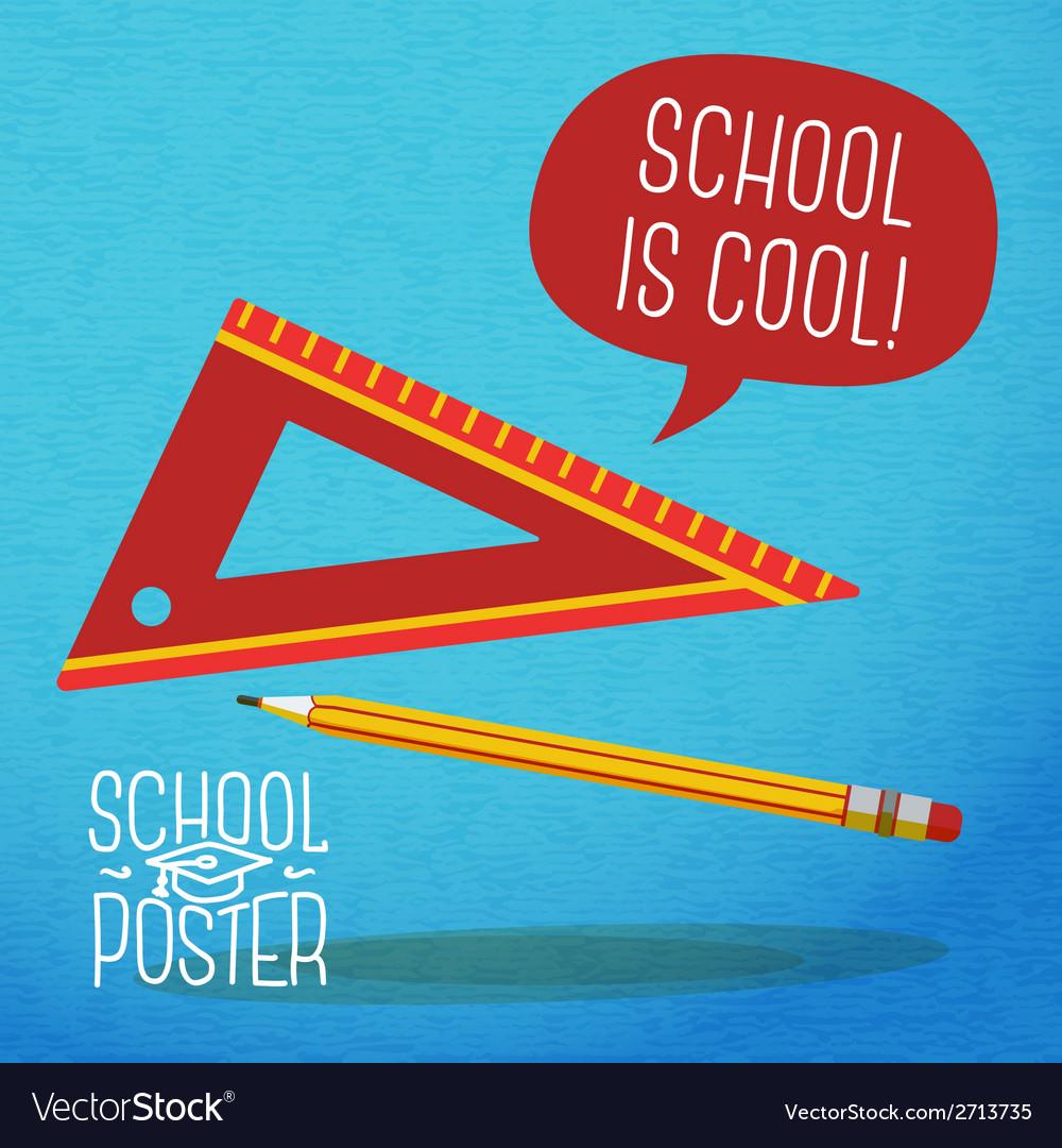 Cute school college university poster - pencil vector | Price: 1 Credit (USD $1)