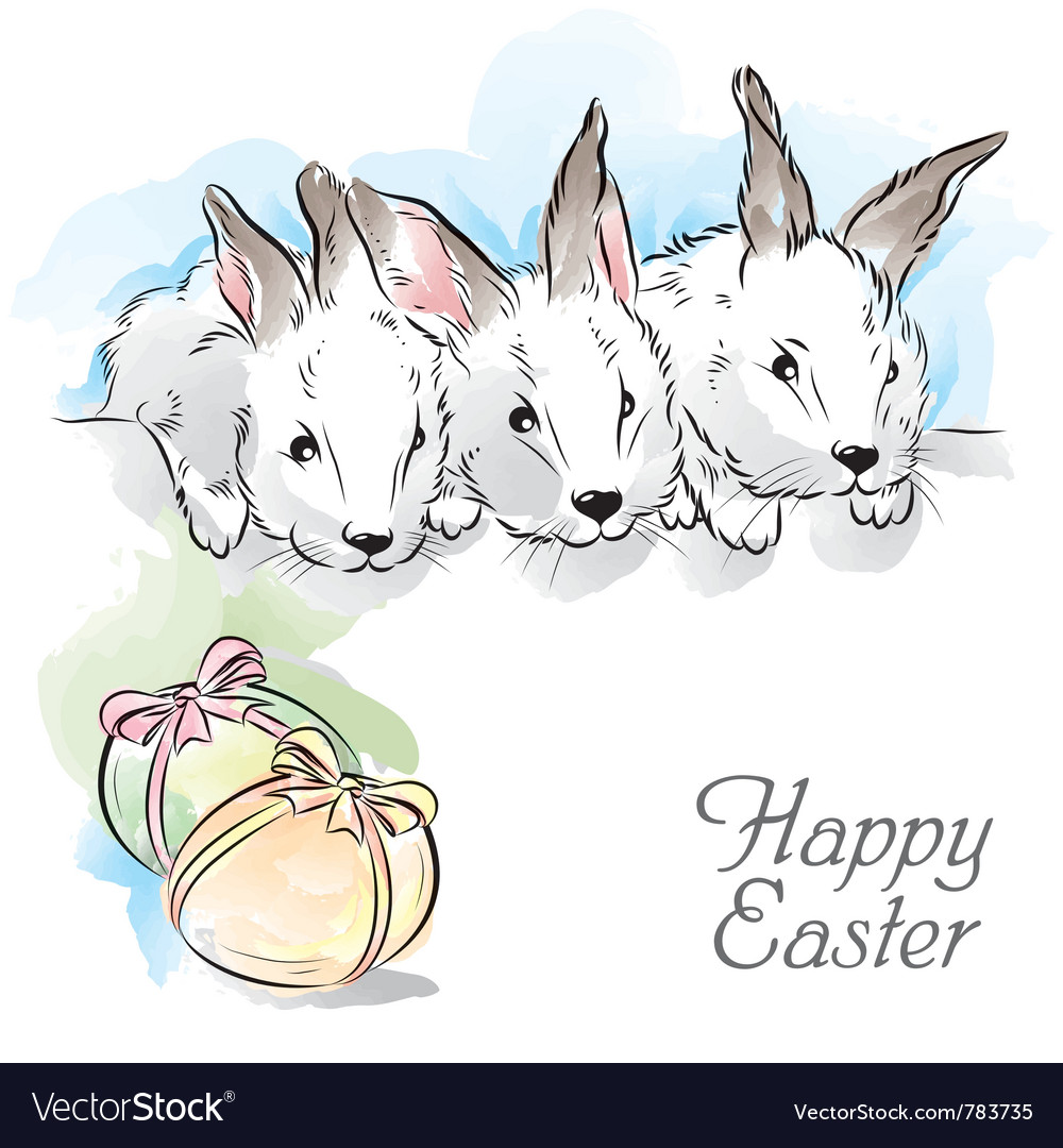 Easter card with three rabbits vector | Price: 3 Credit (USD $3)