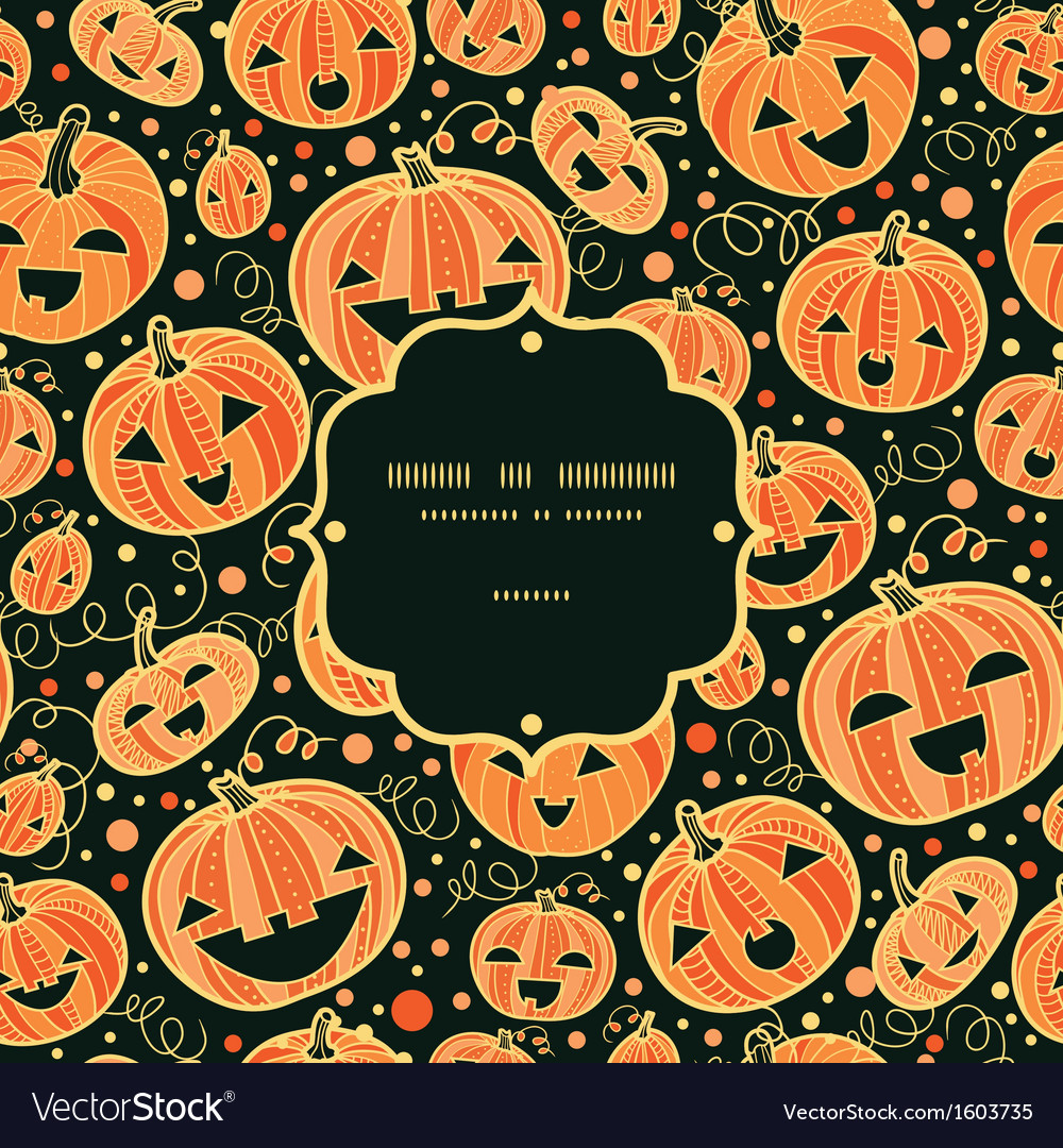 Halloween pumpkins frame seamless pattern vector | Price: 1 Credit (USD $1)