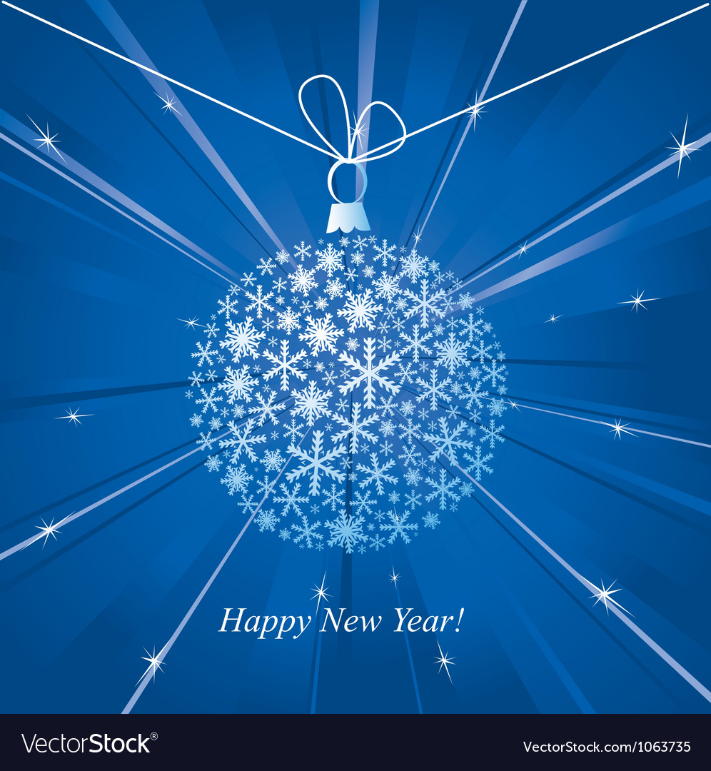 Happy new year card with christmas ball vector | Price: 1 Credit (USD $1)