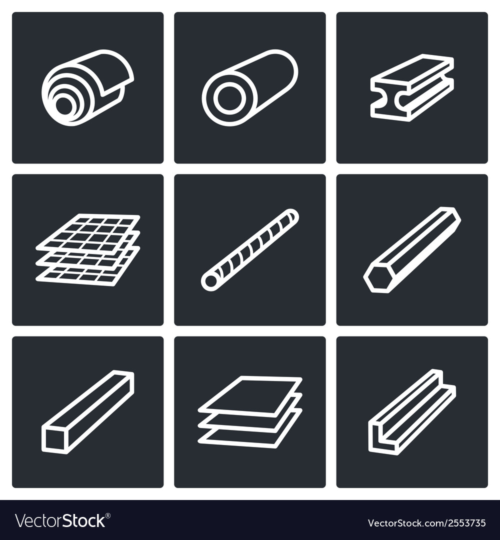 Metallurgy products icons collection vector | Price: 1 Credit (USD $1)