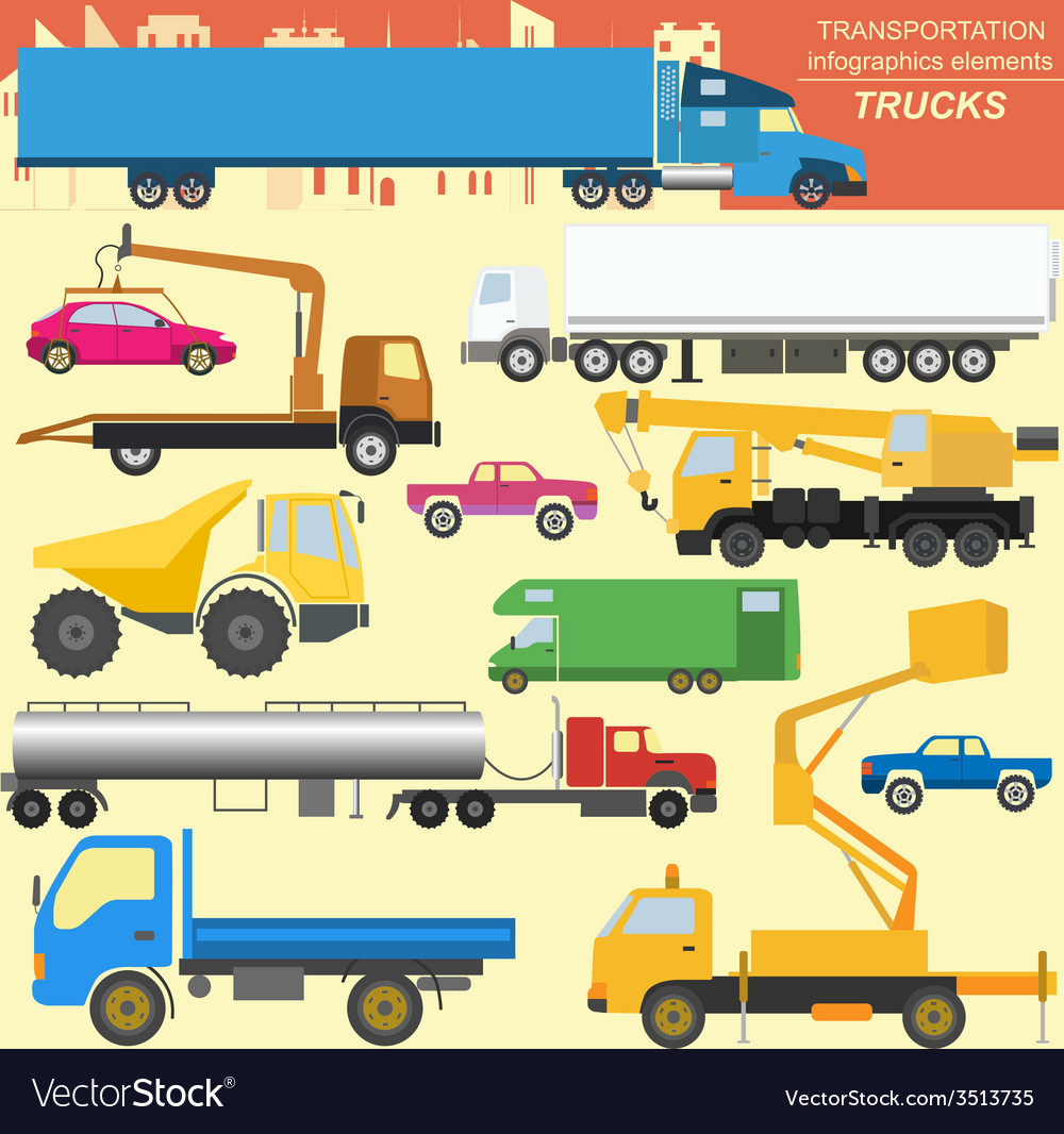 Set of elements cargo transportation trucks lorry vector | Price: 1 Credit (USD $1)