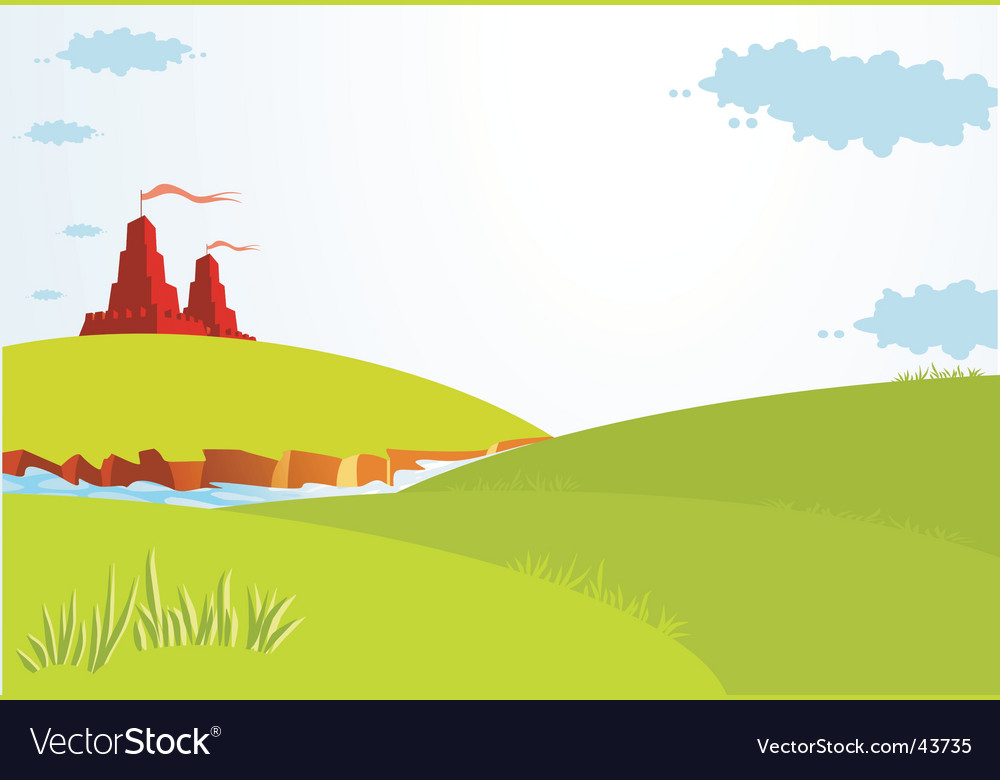 Summer landscape with castle vector | Price: 1 Credit (USD $1)