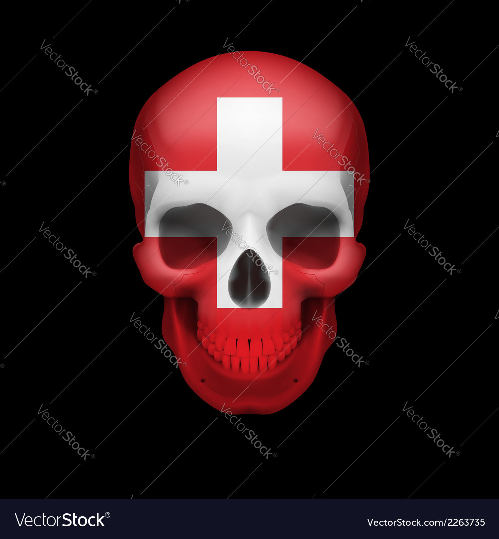 Swiss flag skull vector | Price: 1 Credit (USD $1)