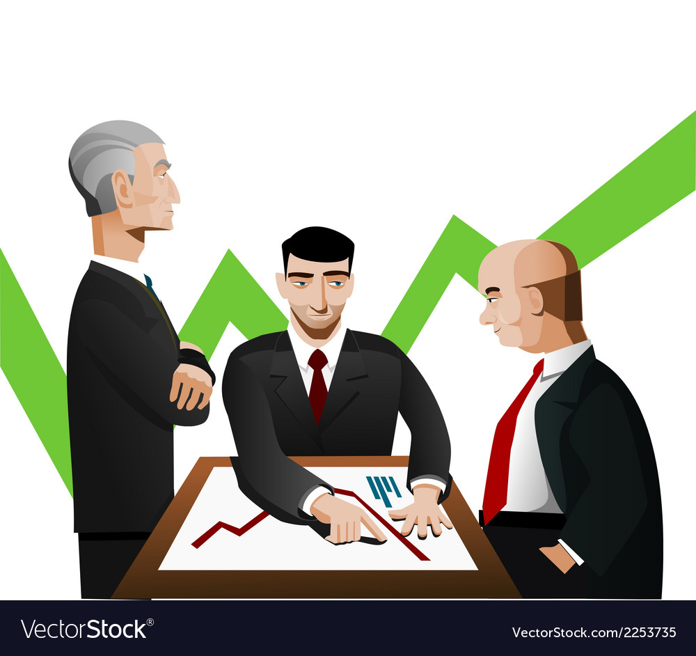 Three businessmen discussing diagram vector | Price: 1 Credit (USD $1)