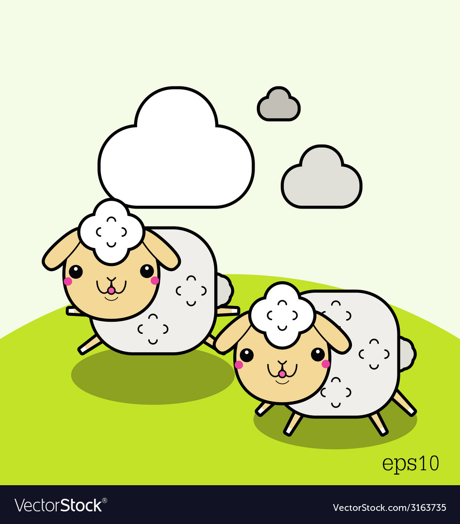 Two white sheep and cloud on the sky vector | Price: 1 Credit (USD $1)