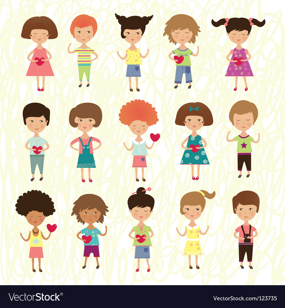Valentine kids vector | Price: 1 Credit (USD $1)
