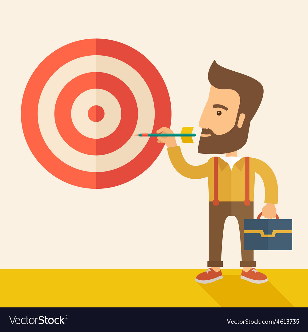 Working man holding a target arrow vector | Price: 1 Credit (USD $1)