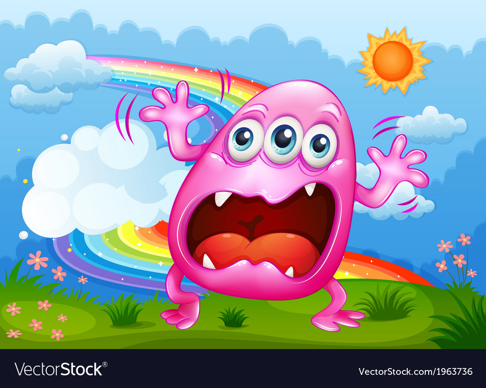 A monster shouting at the hilltop vector | Price: 3 Credit (USD $3)