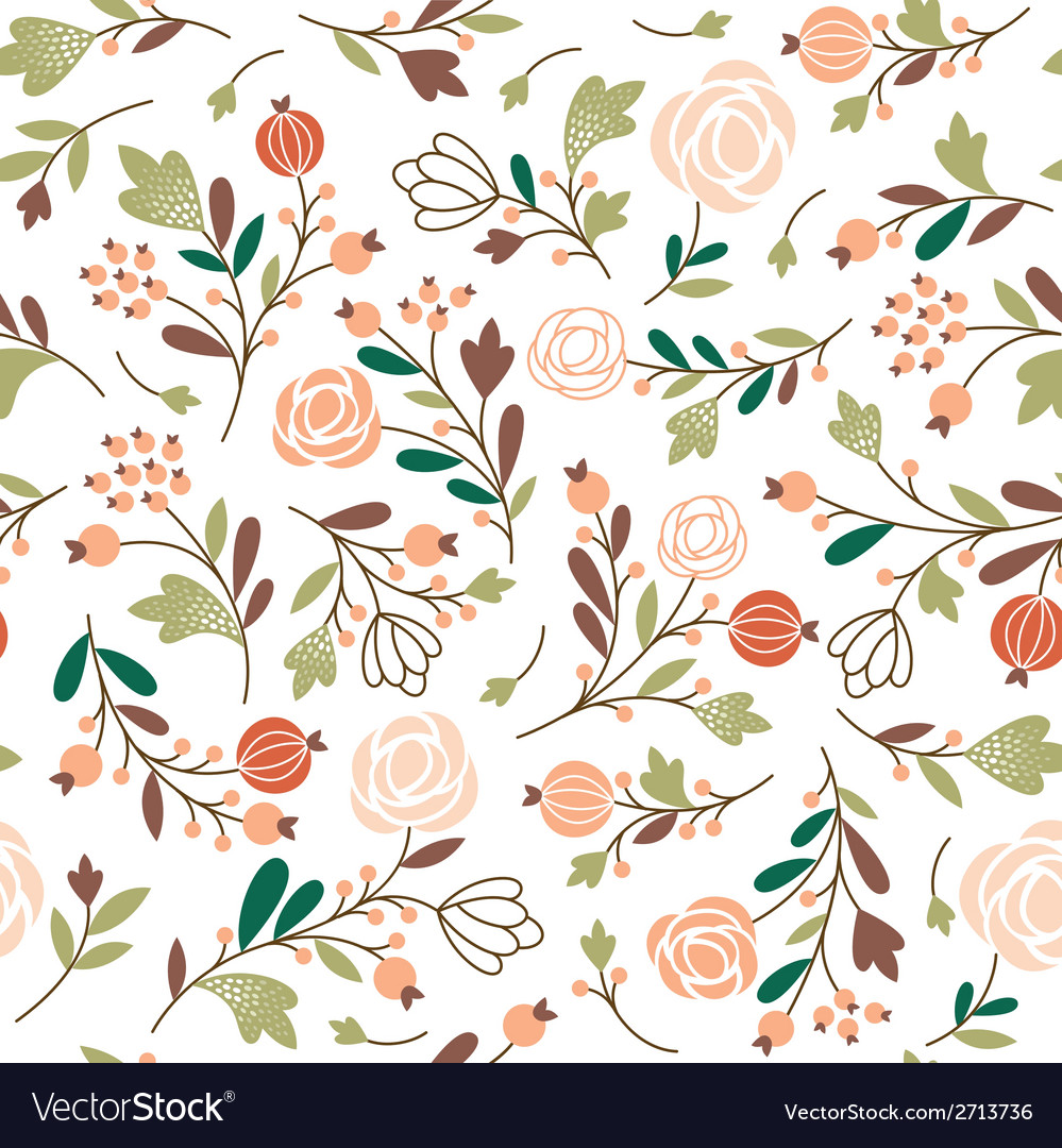 Beauty seamless floral pattern vector | Price: 1 Credit (USD $1)