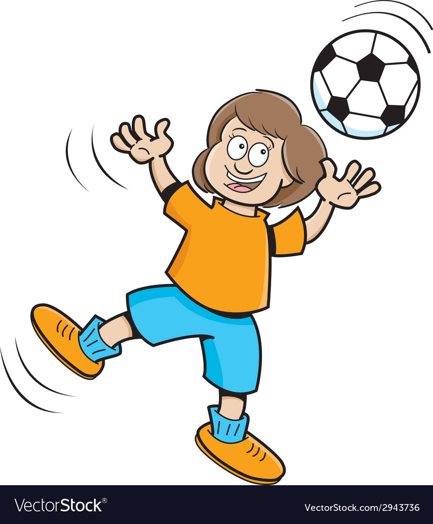 Cartoon girl playing soccer vector | Price: 1 Credit (USD $1)