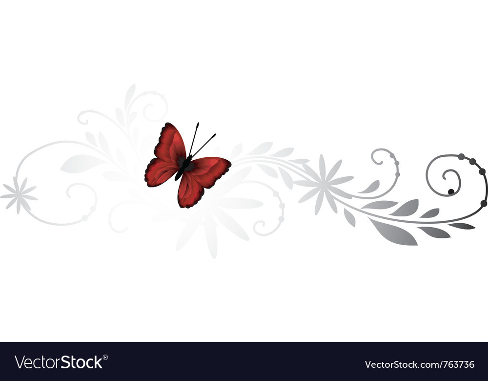 Floral pattern with red butterfly vector | Price: 1 Credit (USD $1)