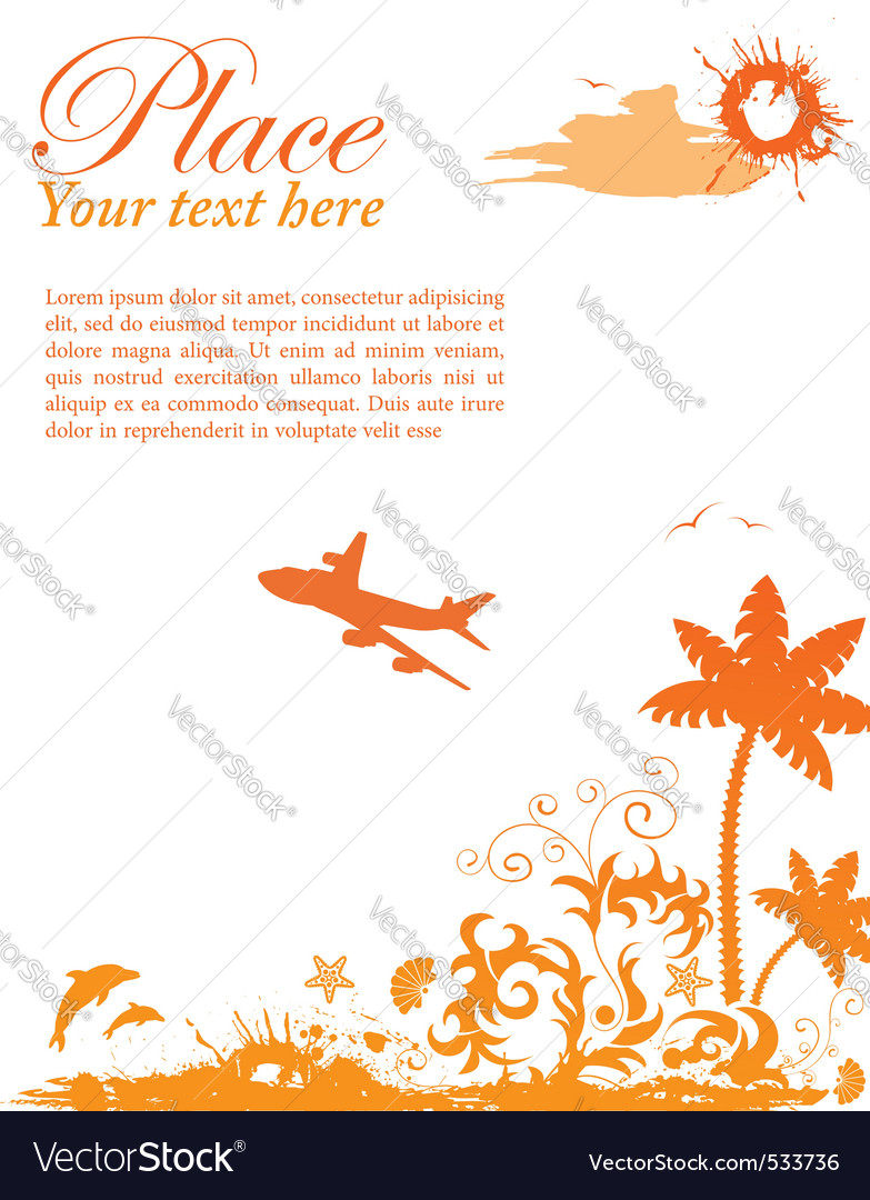 Grunge summer card with starfish airplane element vector | Price: 1 Credit (USD $1)