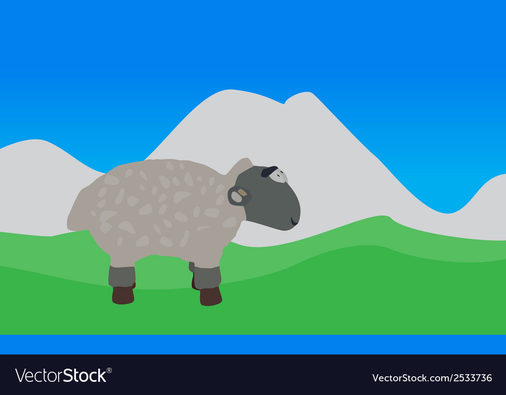 Lamb walks eats the grass eps10 vector | Price: 1 Credit (USD $1)