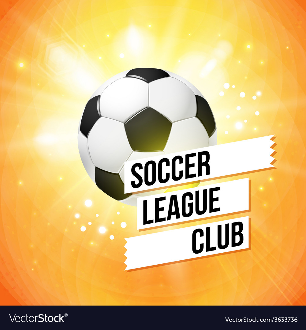 Soccer football poster bright orange background vector | Price: 1 Credit (USD $1)