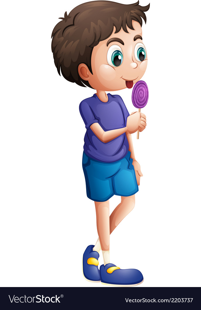 A young boy eating lollipop vector | Price: 1 Credit (USD $1)