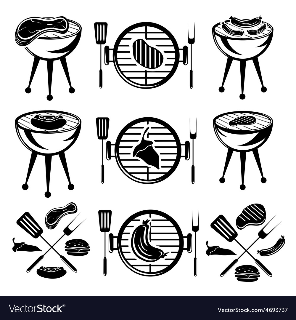 Bbq set of meathot dog and burger vector | Price: 1 Credit (USD $1)