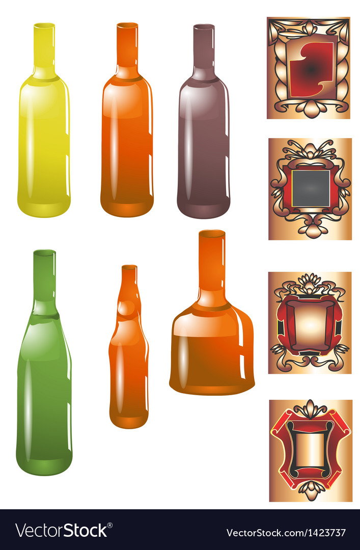 Bottle and label vector | Price: 1 Credit (USD $1)