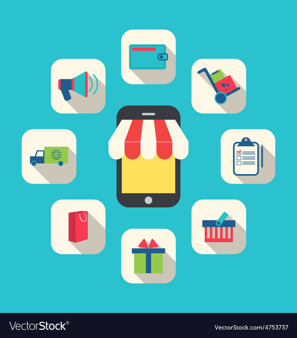 Concept of online shop e-commerce colorful simple vector | Price: 1 Credit (USD $1)