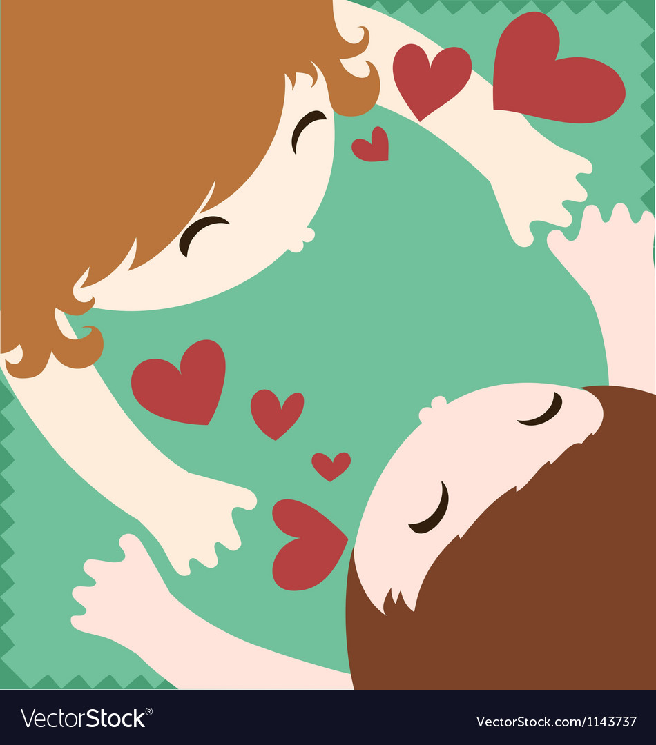 Couple in love hug and kiss vector | Price: 1 Credit (USD $1)