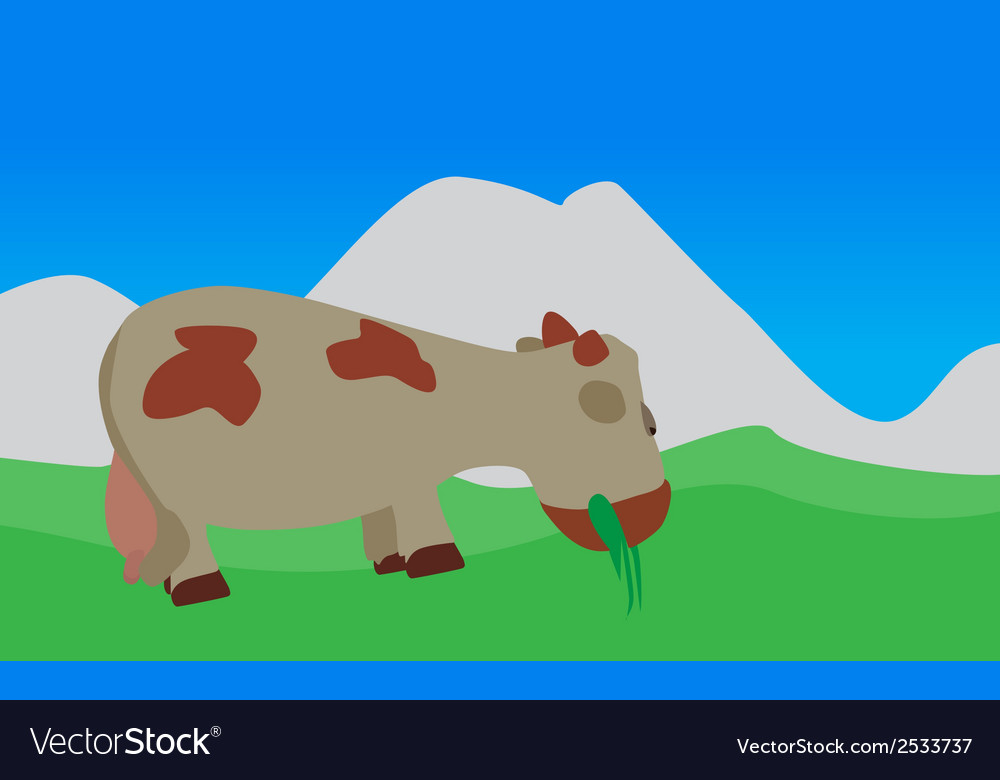 Cow walks eats the grass eps10 vector | Price: 1 Credit (USD $1)