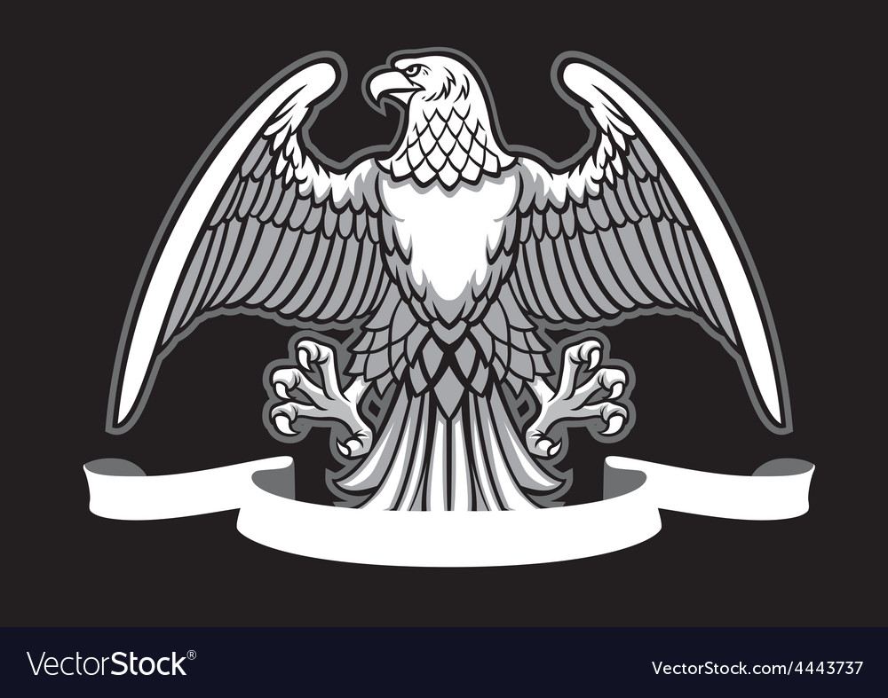 Eagle heraldry with blank ribbon vector | Price: 1 Credit (USD $1)