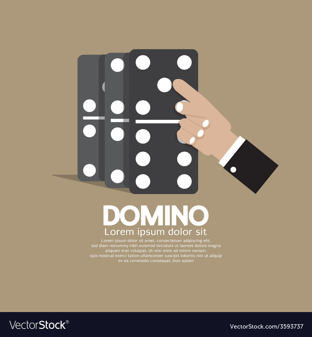 Finger pushing to domino row vector | Price: 1 Credit (USD $1)