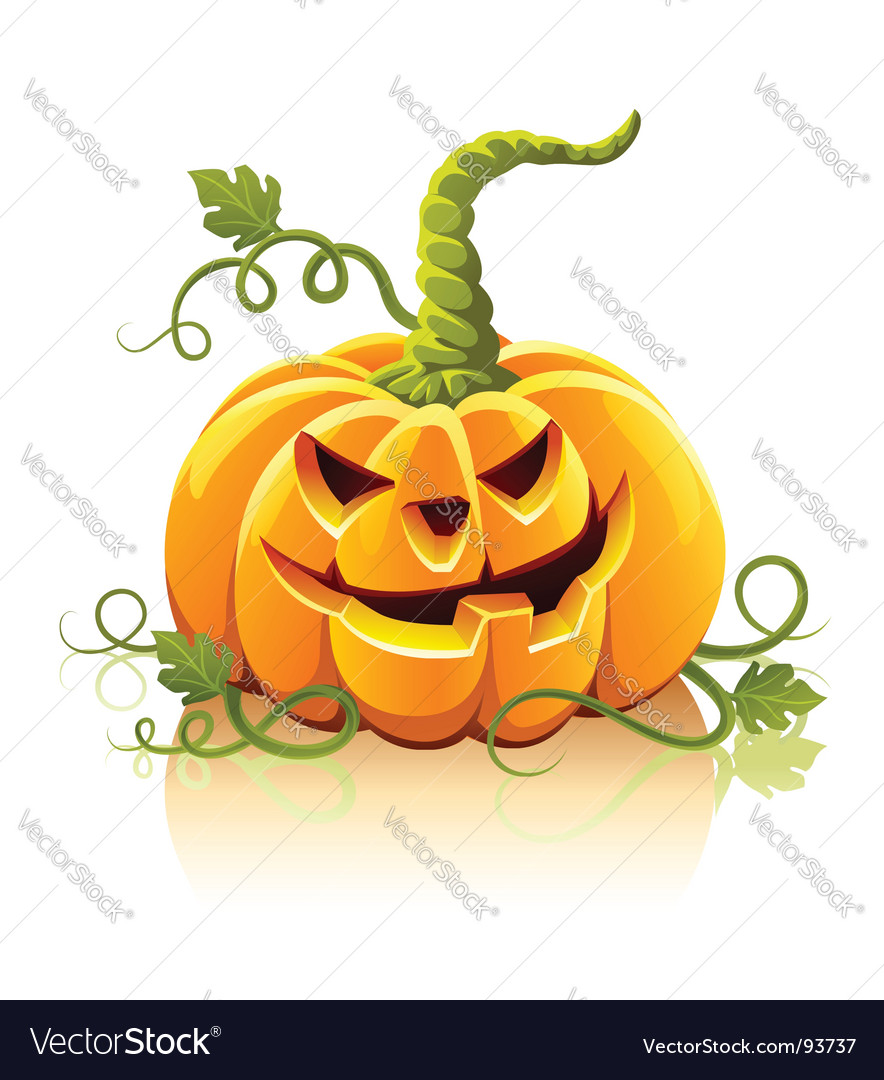 Frightful halloween pumpkin vegetable isolate vector | Price: 1 Credit (USD $1)