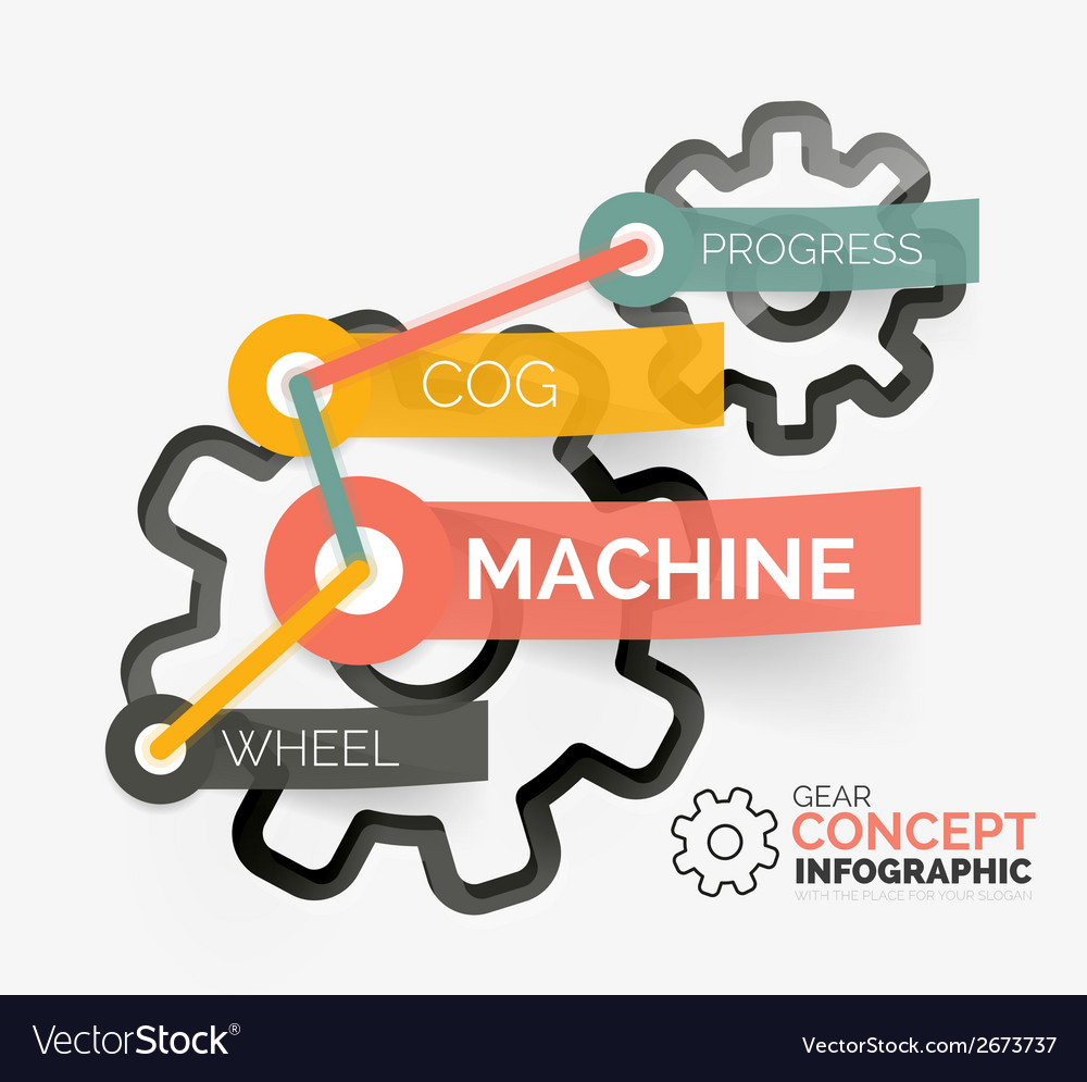 Gear infographic concept with tag connection vector | Price: 1 Credit (USD $1)